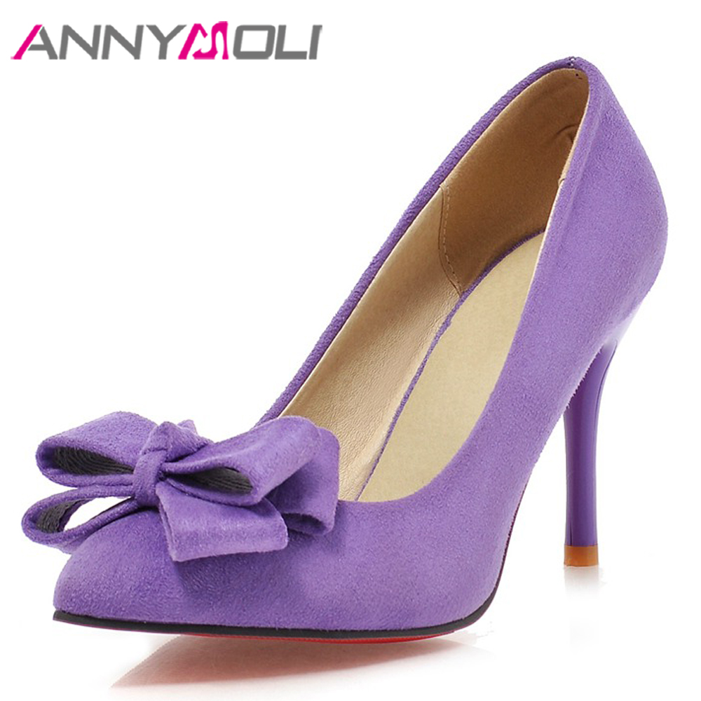 ANNYMOLI High Heels Women Pumps Bow Thin High Heels Latest Shoes Sweet Pointed Toe Shoes Lady Spring Pink Purple Big Size 34-43