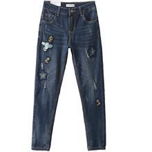 Осень и зима хлопок джинсы новый Корейский цветок птица шаблон вышивка Тонкий был тонкий отверстие карандаш джинсы w1925