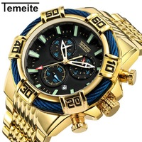 Temeite Large Dial Quartz Wristwatches Gold Blue Mens Watches Top Brand Luxury Waterproof Fashion Multifunction Man Watch 2018