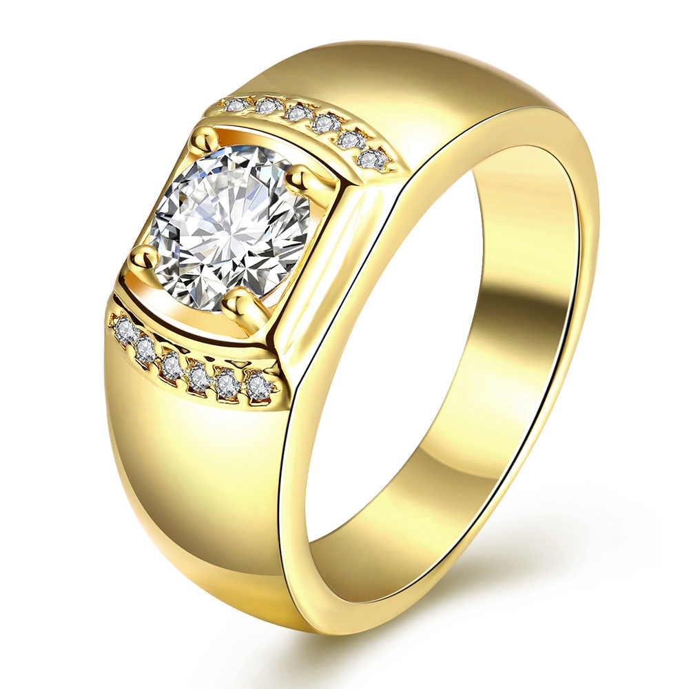 Gold Color AAA Zircon Men Wedding Finger Ring Size 8 9 10 Fashion Jewelry Top Quality Hot New Design Anel In Rings From Accessories On