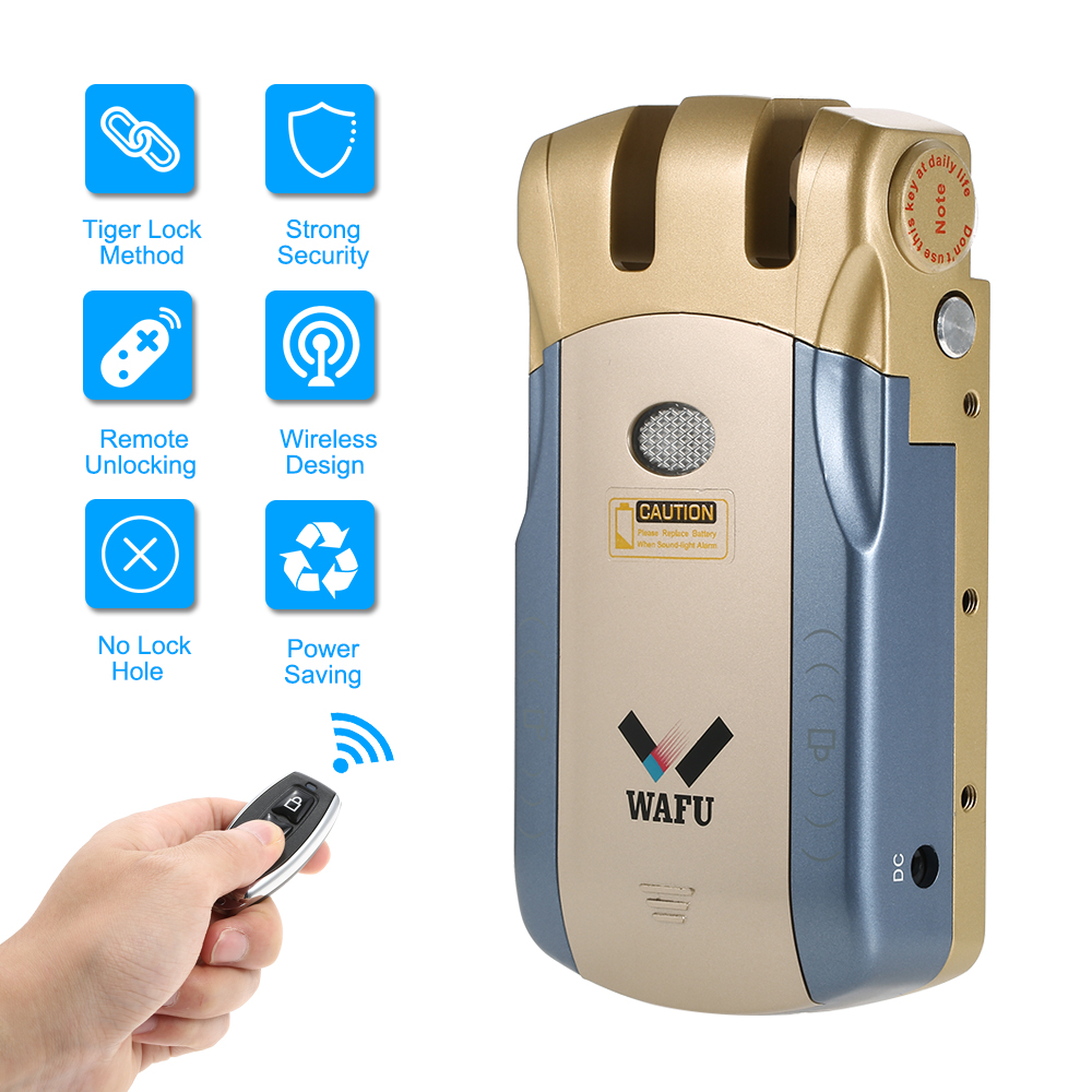 WAFU Wireless Security Invisible Keyless Entry Door Lock Home Smart Remote Control Lock with 4 Remote