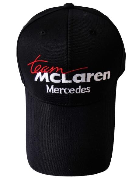 8088798af7889 Mercedes MCLaren logo black style Auto Logo Adjustable Embroidered snapback  hood Hat Mens Women Unisex