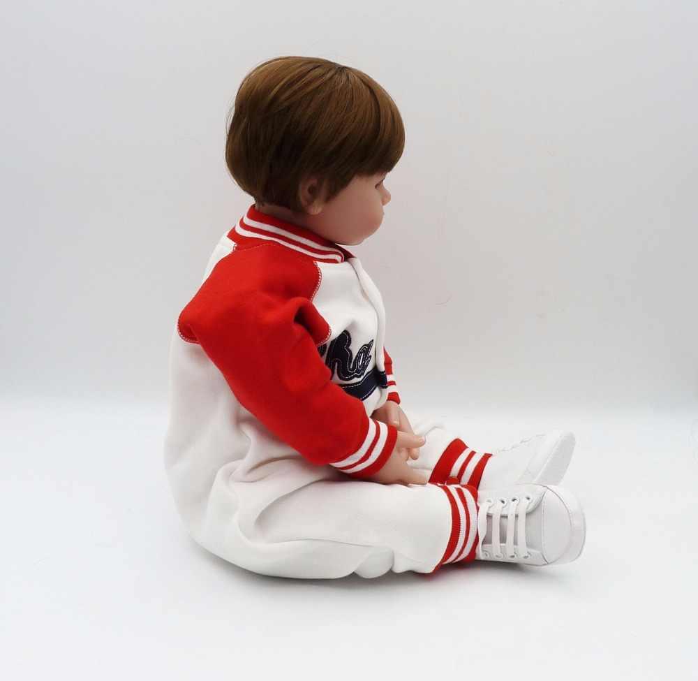56 cm Silicone membres et tissu corps bebe bonecas cheveux courts charme bébé enfant Brinquedos meilleurs enfants playmates maison de poupée jouets
