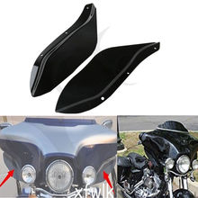 Motorcycle Black/Clear Side Wing Windshield Air Deflector For Harley Touring FLHR FLHT FLHX 96-13 black motorcycle windscreen windshield for harley touring flht cvo flhx fl 14 15 16 motocross motorbike dirt bike free shipping