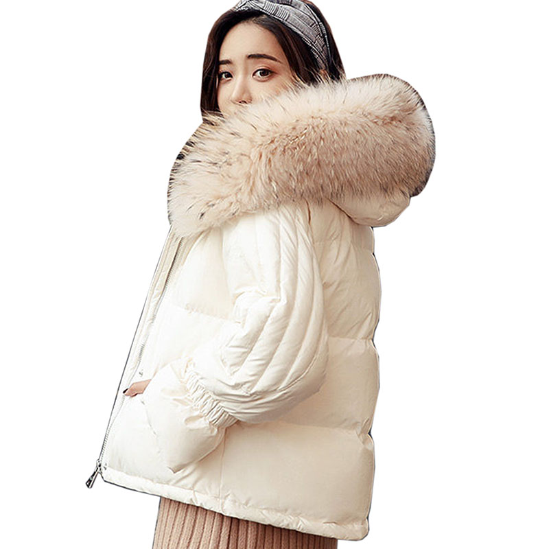 Thicken Warm Winter Short   Down     Coats   Women 2018 new Large Natural Fur White Duck   Down   Parka Women Hooded Outerwear Winter Jacket
