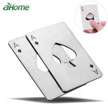 Creative Poker Card Beer Bottle Opener Personalized Funny Stainless Steel Credit Card Bottle Opener Card of Spades Bar Tool цена 2017