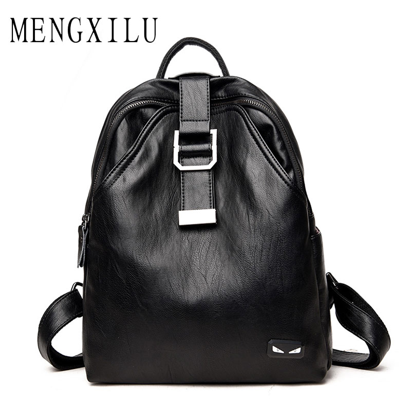 MENGXILU Fashion Monster High Quality Leather Backpacks Women Backpack For Teenage Girls Casual Bags Female Shoulder