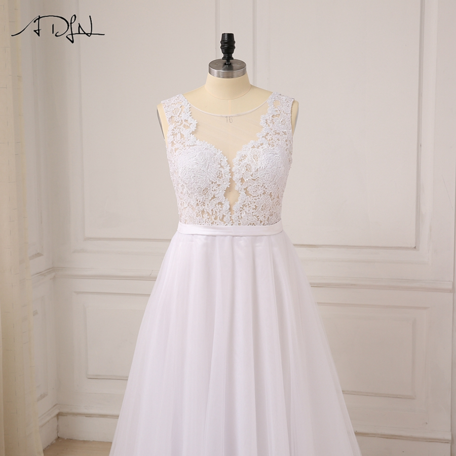 ADLN Plus Size White Wedding Dresses New Sexy Scoop Tulle Appliques Beach Boho Bride Dress Long Ivory Wedding Gowns Custom 5
