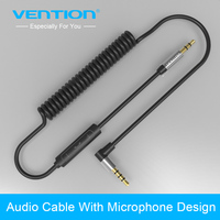 Vention 3 5mm Jack Audio Cable Stereo Coiled Aux Cable Angle With Handsfree Speakerphone In Line