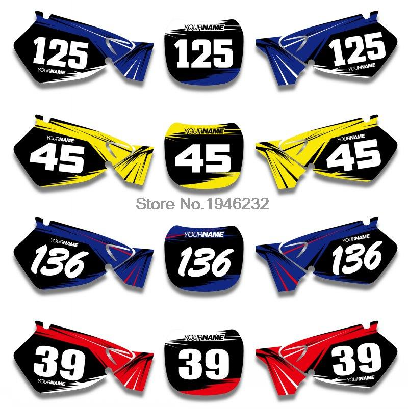 H2CNC Custom Number Plate Background Graphics Sticker & Decal For Yamaha YZ125 YZ250 1996 - 2001 1998 <font><b>1999</b></font> 2000 <font><b>YZ</b></font> <font><b>125</b></font> 250 image