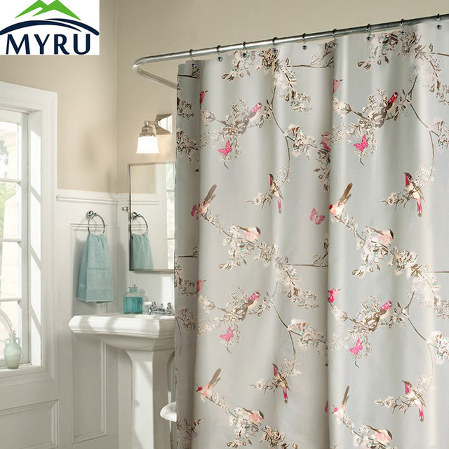 MYRU New Creative Birds Shower Curtain Waterproof Polyester Cool For Bathroom
