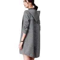 Cardigan de punto Con Capucha Chaquetas de Las Mujeres 2018 Otoño Nueva Suéter Flojo Largo Abrigo de La Moda Femenina Cordón de Gran tamaño Vadim X351
