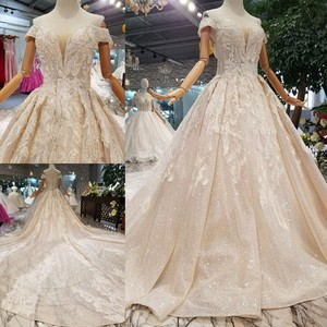 Image 5 - LS014478 shiny wedding gown with glitter sweetheart off shoulder lace up v back from real factory abito da sposa corto