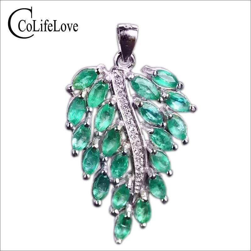 Luxury emerald pendant 20 pcs 2*4mm natural emerald pure 925 sterling silver emerald leaf pendant fashion emerald jewelry for