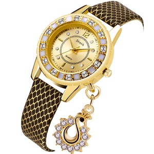 Hot Fashion Lady Dress Watches Luxury Swan Pendant Wristwatches Women Quartz Relogio Clock watch(China)