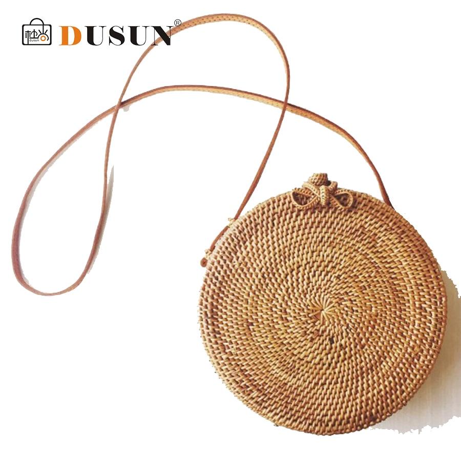 DUSUN Summer Bali Island Hand Round Woven Straw Bag Rattan Satchel Wind Bohemia Beach Bag Mini Handmade Retro Messenger Bag Bow все цены
