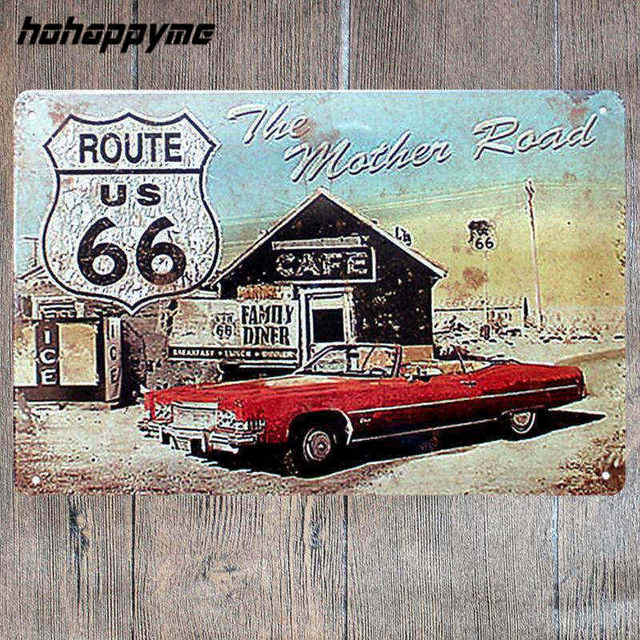Poster Route 66 Decor Metal Sign Decoration Tin Plates Retro Signs Wall Art Plaque Vintage
