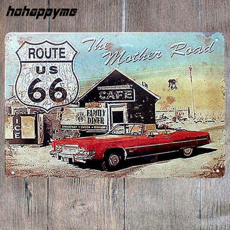 Poster Route 66 Decor Metal Sign Decoration Tin Plates Retro Metal Signs Wall Art Plaque Vintage Pub Beer Home Decor 20*30 CM