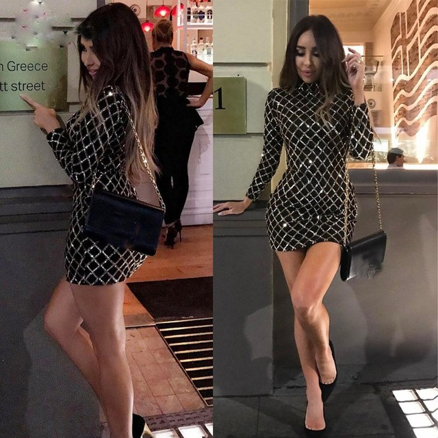 096e532f4c5d Gold Pattern High Neck Mini Dress Sheath Black Long Sleeve Bodycon Dress  Sexy Sequins Sheath Party Dresses-in Dresses from Women's Clothing on ...