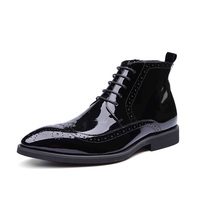 New Fashion High Quality British Style Genuine Patent Leather Lace Up Pointed Toe Men Ankle Casual
