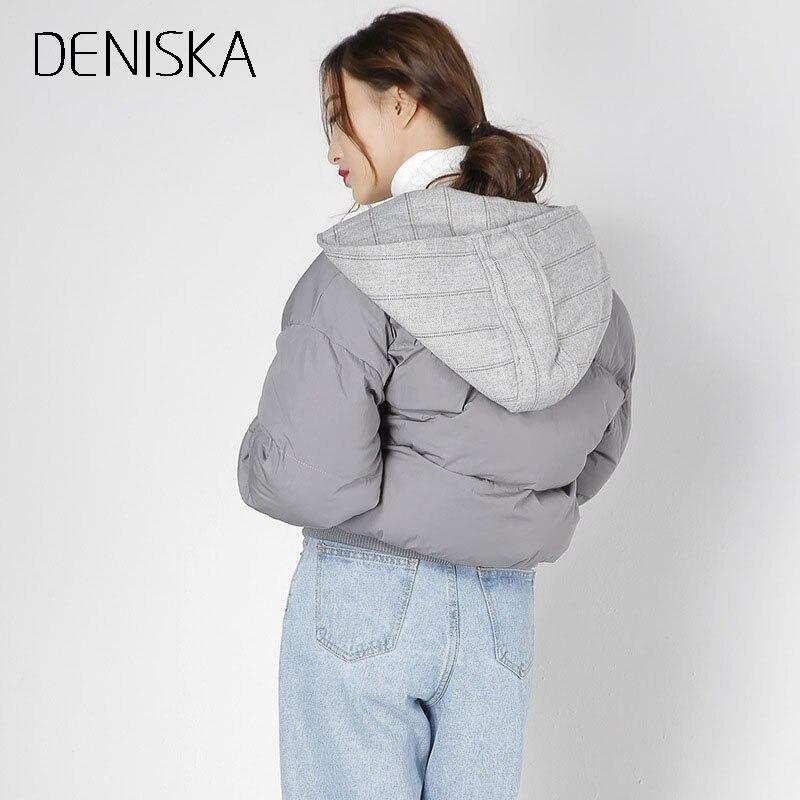 Manteau 2018 Vers Parka De Automne Courtes Veste Coton Capuchon Design À Deniska Bouton Beige gris Femmes Le En Hiver Des Mode Bas wXd7Hgq