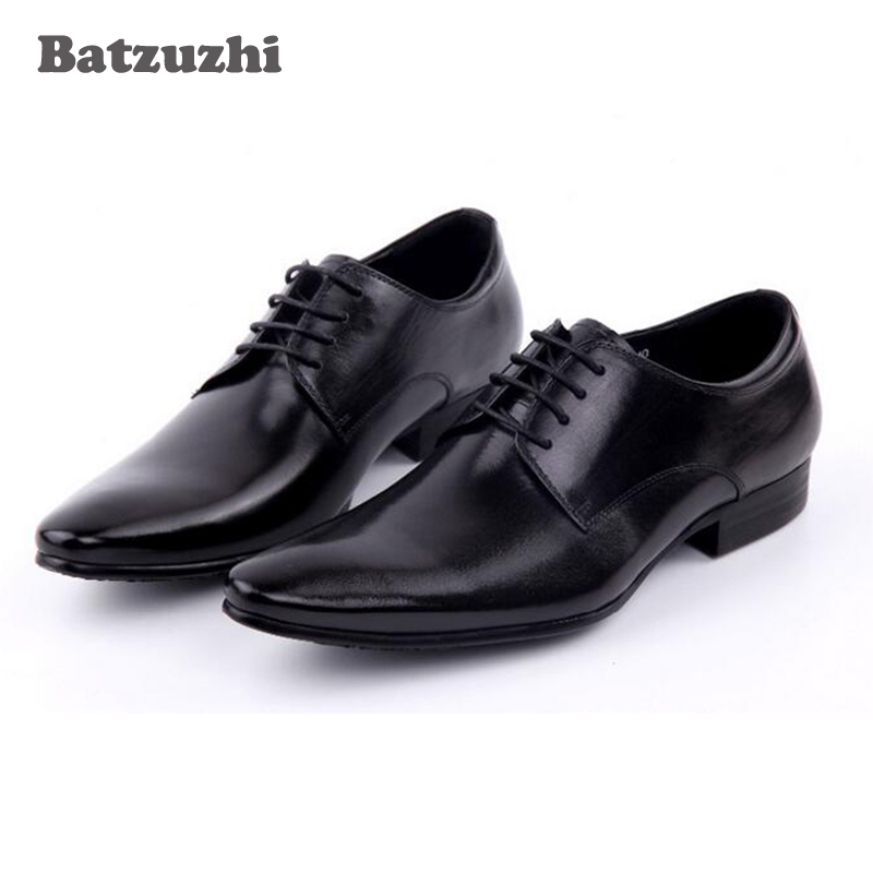 Luxury 2018 Men Shoes Black Leather Dress Shoes Men Handmade Formal Men Business Leather Shoes Lace-up Zapatos Hombre, Size 46 klywoo new white fasion shoes men casual shoes spring men driving shoes leather breathable comfortable lace up zapatos hombre