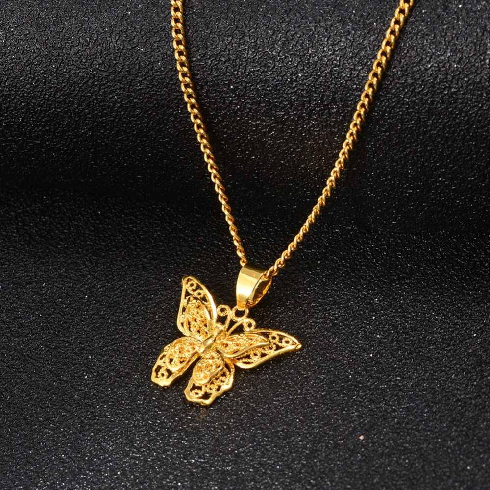 Anniyo 蝶チャームペンダントチェーンネックレス女性女の子ゴールドカラージュエリー PNG ギフト #006209