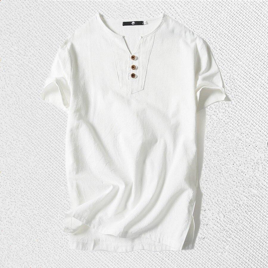Bateau libre 8XL 6XL marque Lin t-shirt Hommes décontracté Solide Tees Lin haut en coton t-shirt Pour Hommes V-cou Manches Courtes Boutons tshirt