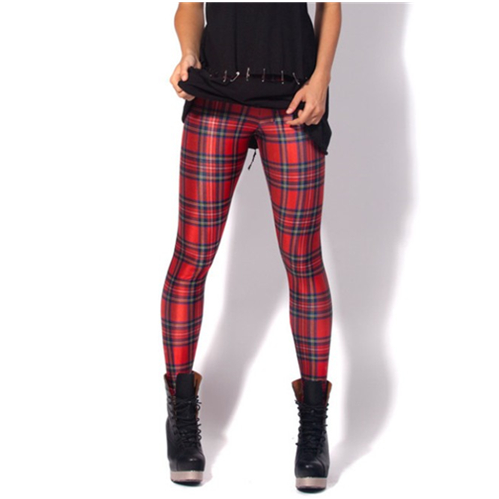 Hipsterme Red Grid Print Women Push Up Fitness   Leggings   Workout Textured Athleisure Jeggings Plus Size Shiny Sweatpants