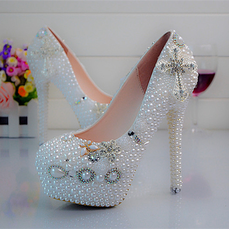 White Pearl Platform Shoes Birthday Party Prom Pumps Crystal Wedding Shoes Cross Rhinestone Bridal Dress Shoes Large Size white ab crystal wedding shoes sparkling rhinestone bridal dress shoes plus size platform high heel shoes cinderella prom pumps