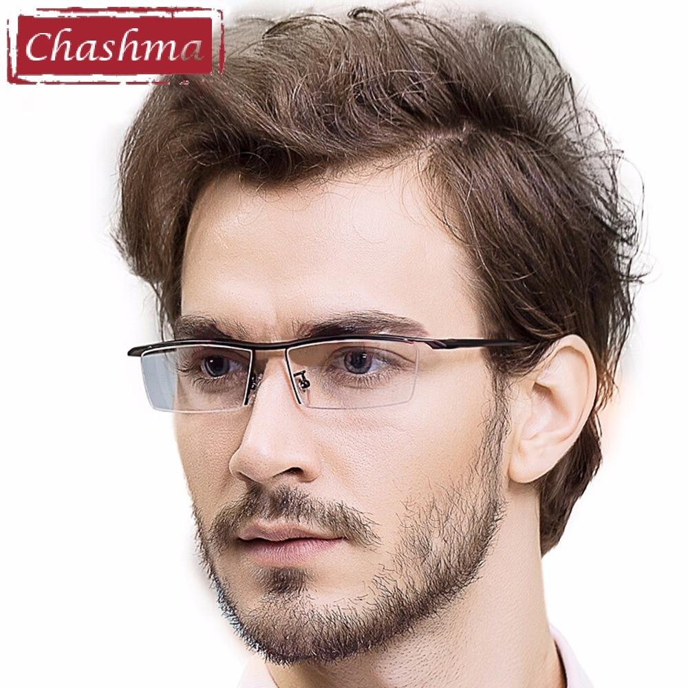 Chashma Markendesigner Männer Brillengestell Titanlegierung Brillen Männliche Brillen Brillengestell für Männer Halbrahmen Brillen