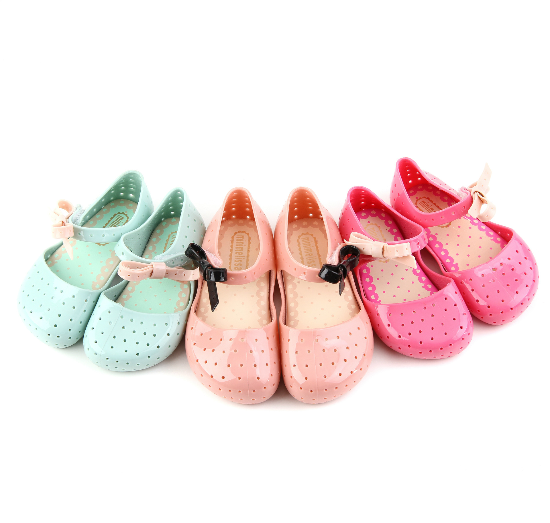 hot 2018 new summer Mini Melissa girls Princess sandals Kids Casual Hollow shoes Cute bow baby dancing shoes