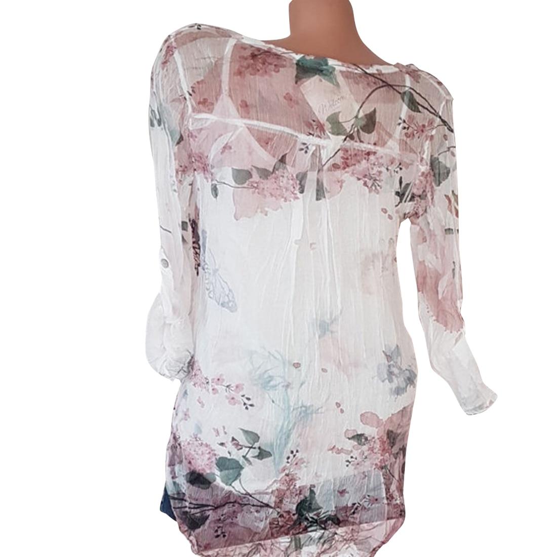 2019 Fashion Women Plus Size Chiffon Shirt Sexy V-Neck Full Sleeve Autumn Blusa Feminina Women Blouse Tops Single-Breasted Print
