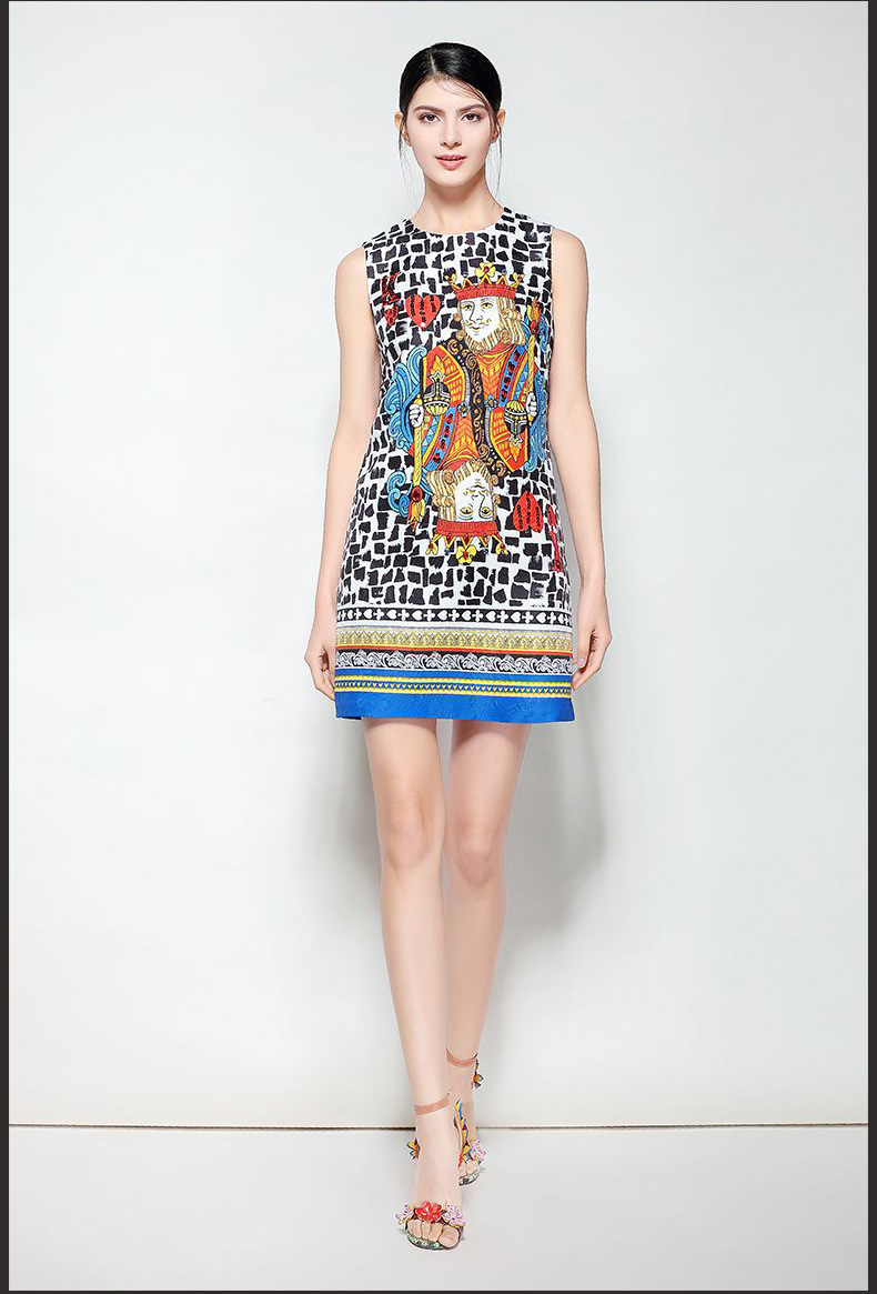 New Arrival Womens O Neck Sleeveless Characters Printed Beaded Fashion Designer Jacquard Runway Dresses