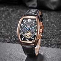 Top marque KIMSDUN Auto Date Montre hommes boîtier en or de luxe montres mécaniques hommes de mode en cuir Montre-bracelet Montre Homme