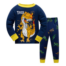 Купить с кэшбэком Kids Boys Dinosaur Pajamas Toddler Sleepwear Clothes Sets Infant Child Robe Children New Year Pijamas For Boy Christmas Pyjamas