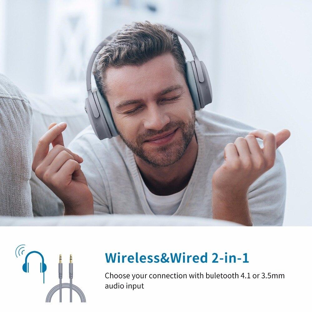 Casque antibruit actif écouteurs Bluetooth sans fil avec boîtier sur l'oreille casque avec Microphone pour téléphones portables - 6