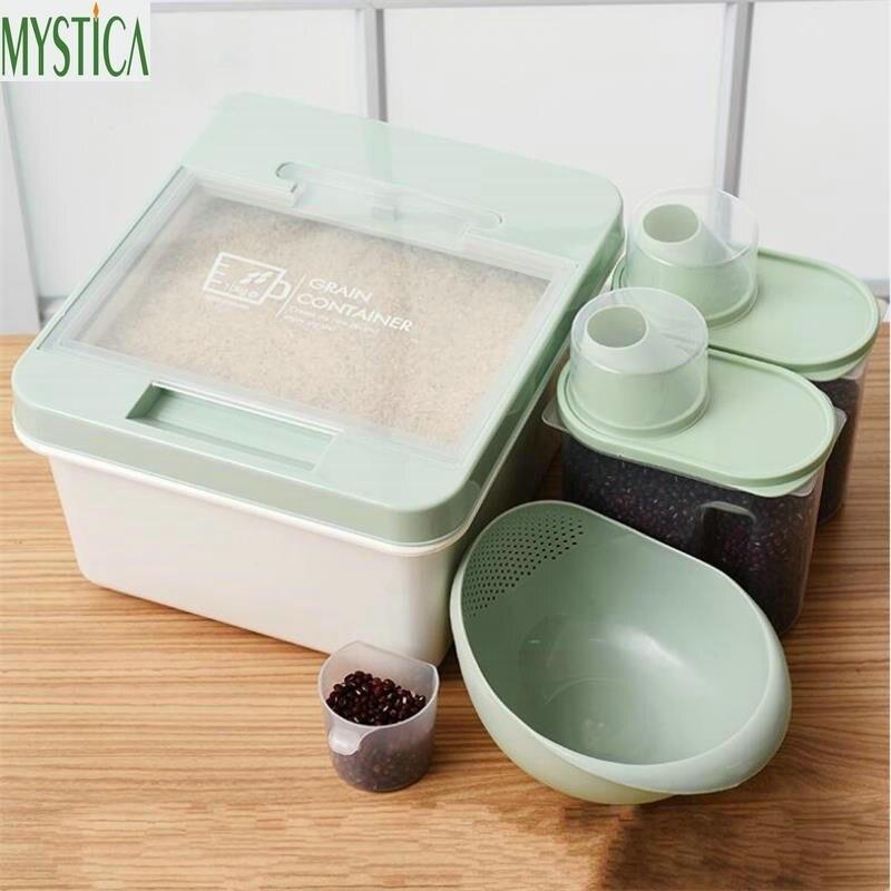 5 pièces/ensemble maison cuisine riz boîte de rangement en plastique Grain farine alimentaire bonbons organisateur Case céréales collations joint réfrigérateur conteneur titulaire