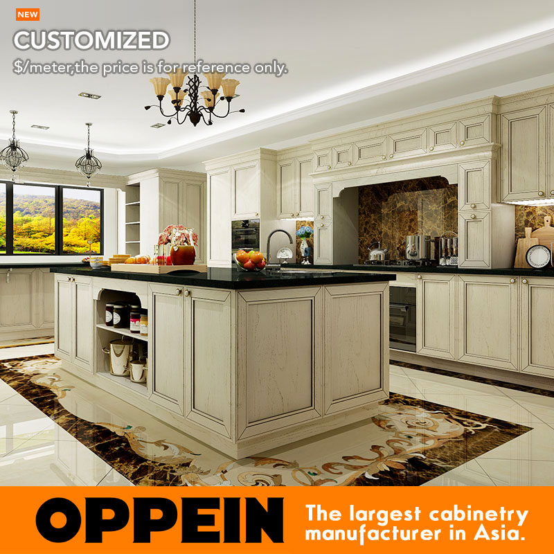 Traditional Ashtree Solid Wood Grain Double Island Kitchen Cabinet(OP16-S05)