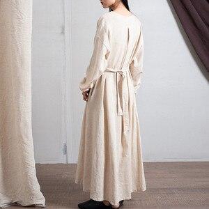 Image 2 - Johnature 2020 wiosna pościel bawełniana nowy dekolt w serek luźne jednolity kolor długi sukienka Vintage nowy 3 kolory chiński styl kobiety sukienki