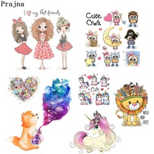 Prajna Cute Girl Animals Heat Transfers Patches For Clothing Summer Style Stripe On Clothes iron DIY Decoration