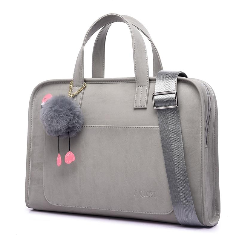 Femmes doux ordinateur portable en cuir synthétique polyuréthane Messenger sac épaule étui de transport sac à main fourre-tout pour Dell HP Macbook Air Pro 13 14 15 15.6 pouces