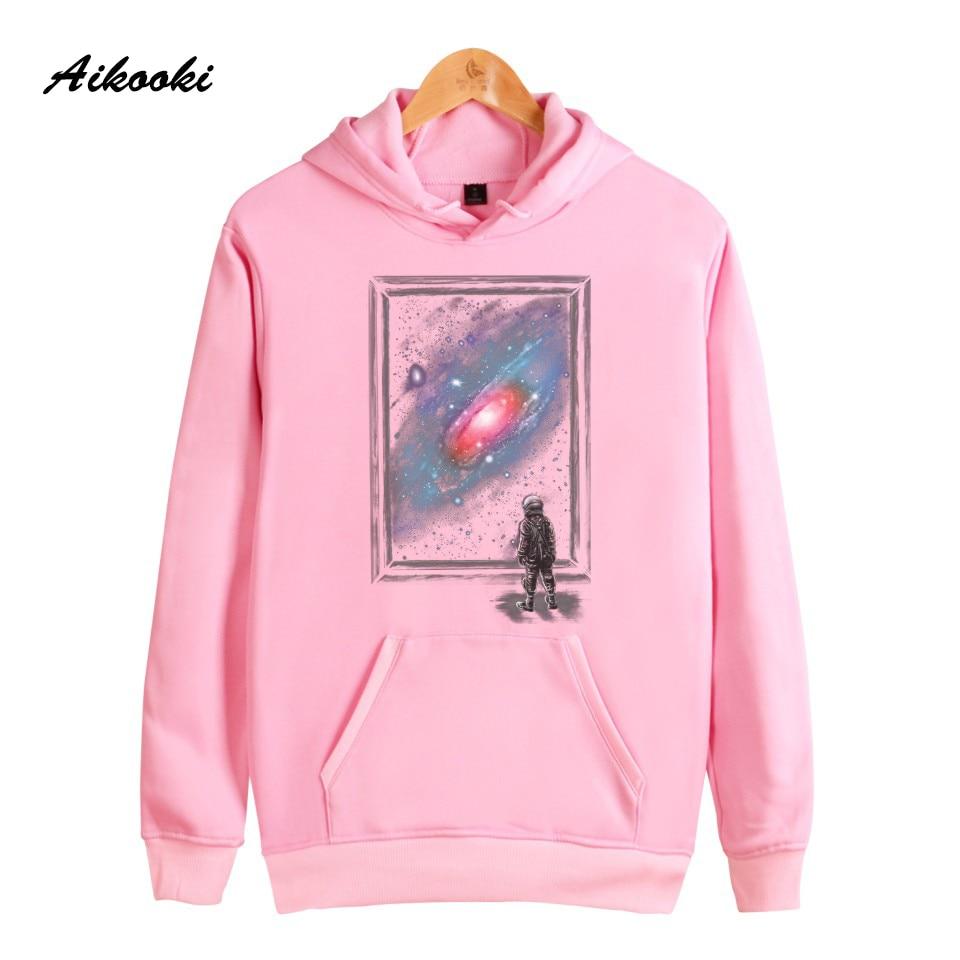 Aikooki Space Milky Way Earth Moon Men Women Casual Hooded Sweatshirts Tracksuit Fashion Brand Female Hoodie Sweatshirts Clothes