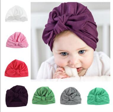 2016 New newborn photography props Bohemia Style Solid Color rabbit ear bowknot Baby Hat Cute Crochet Baby Beanie Cap
