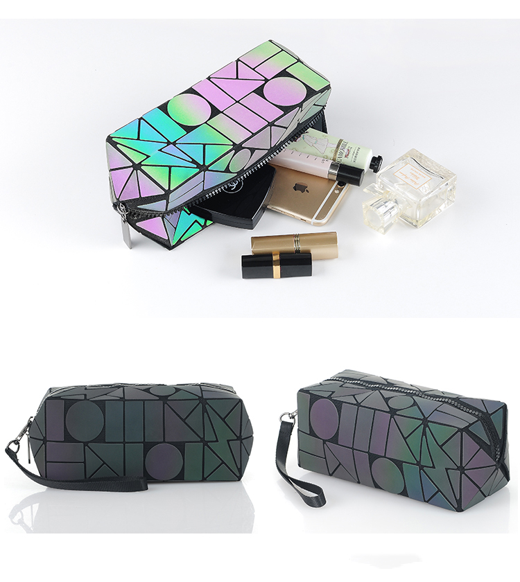 e25a8672bda4 Maelove Luminous Bag Women Geometric Bag Makeup handbag Designer Folding  Travel Make Up Bag small purse wholesale -in Clutches from Luggage   Bags  on ...