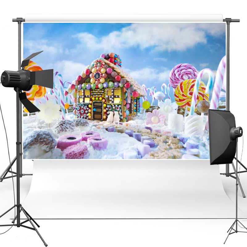 MEHOFOTO Christmas Theme House Vinyl Photography Background Candy New Fabric Flannel Backdrops For Baby Photo Props Studio ST442 vinyl photo background for baby studio props wooden floor christmas photography backdrops 5x7ft or 3x5ft jiesdx005