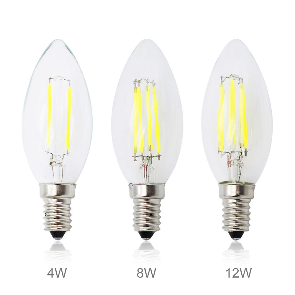 led filament chip e14 220v dimmable edison candle light bulb 3w 4w 8w 12w replace 10w 20w 40w. Black Bedroom Furniture Sets. Home Design Ideas