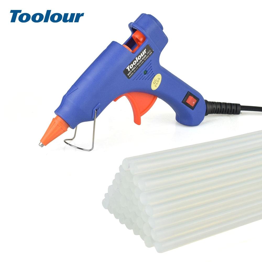 цена на Toolour Hot Melt Glue Gun EU/US 100-240V 20W Gluegun with 40pc 7mm*150mm Glue Sticks Mini Guns Thermo Gluegun Repair Heat Tool