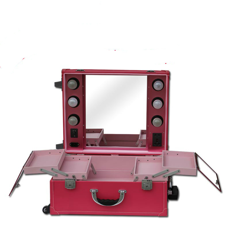 lighted makeup case makeup vanity professional makeup mirror red color - Compare Prices On Makeup Vanity Case With Lights- Online Shopping