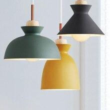 hot deal buy fashion colorful modern wood pendant lights lamparas minimalist design shade luminaire dining room lights pendant lamp